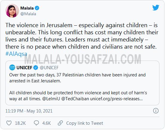 """Malala Yousafzai dikecam karena mengabaikan """"Israel"""" dalam tweet yang mengutuk"""